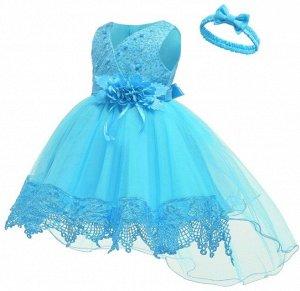 Детское платье, голубое со шлейфом и повязкой для волос