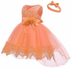 Детское платье, оранжевое со шлейфом и повязкой для волос