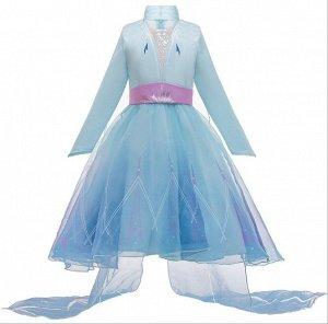 Детское платье, голубое, со шлейфом, Холодное сердце