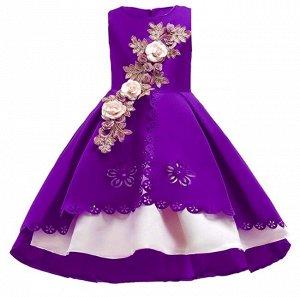 Детское платье, фиолетовое, многослойное