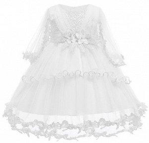 Детское платье, белое, со шлейфом, с длинными рукавами