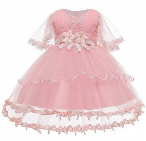 Детское платье, розовое, со шлейфом, с длинными рукавами