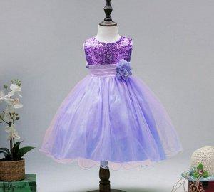 Детское платье,фиолетовое, с пайетками