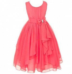 Детское платье, коралловый цвет, шифоновое