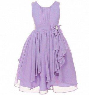 Детское платье, фиолетовое, шифоновое