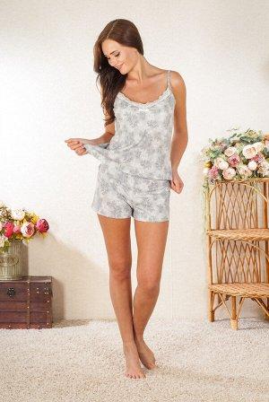 Антураж Хлопок 100%  Пижама женская топ и шорты с кружевной отделкой. Длина топа 60 см.