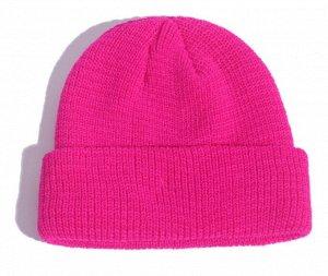 Шапка-бини ярко-розовая