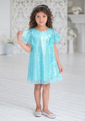 Платье Состав: верх 100% полиэстер, подклад 100% хлопок Модель платья для младшей возрастной группы. Платье силуэта-трапеция с рукавом-крылом. Платье двухслойное, из атласа и верхнего слоя сетки-пайет