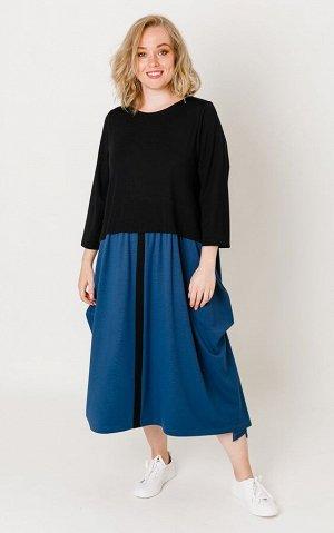 Платье Цвет: черно/синий Коллекция: Осень/Зима Состав: 68% вискоза, 27% нейлон, 5% спандекс Длина: от 117 см