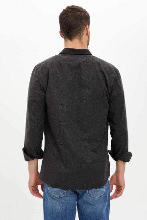 рубашка Размеры модели: рост: 1,88 грудь: 99 талия: 80 бедра: 96 Надет размер: M  Полиэстер 50%, Хлопок 50%