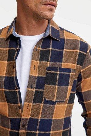 рубашка Размеры модели: рост: 1,89 грудь: 100 талия: 81 бедра: 97 Надет размер: M  Хлопок 50%, Полиэстер 50%