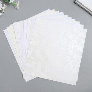 "Бумага 1-сторонняя с блёстками ""Серебро""набор 50 лист., пл-сть 80 гр 24,5х23 см"