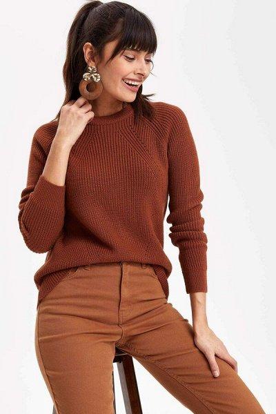 DEFACTO- осенняя подборка - платья, свитеры, кардиганы.  — Свитеры бежевые, коричневые — Свитеры