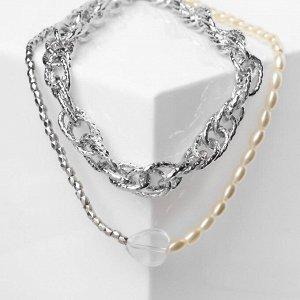 """Кулон """"Жемчужная нить"""" прозрачное сердце, цвет белый в серебре, L=52 см"""