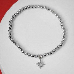 """Браслет со стразами """"Стиль"""" северная звезда, цвет белый в серебре, d=8 см"""