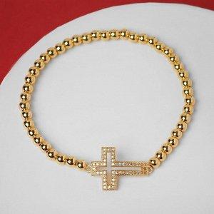 """Браслет со стразами """"Стиль"""" крест объёмный, цвет белый в золоте, d=8 см"""