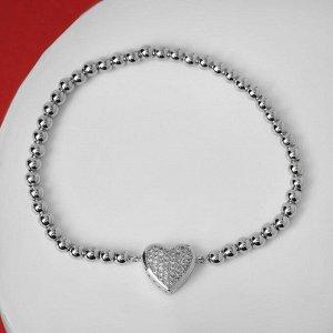 """Браслет со стразами """"Стиль"""" сердечко объёмное, цвет белый в серебре, d=8 см"""