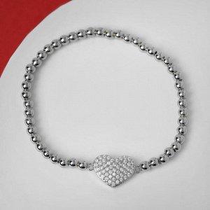 """Браслет со стразами """"Стиль"""" сердечко, цвет белый в серебре, d=8 см"""