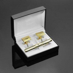"""Набор мужской """"Запонки + Зажим для галстука"""" прямоугольник с ромбом, цвет золотой"""
