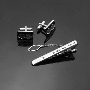 """Набор мужской """"Запонки + Зажим для галстука"""" прямоугольник с ромбами, цвет черный в серебре"""
