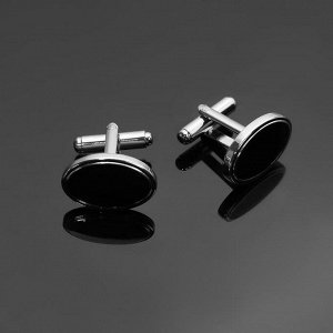 """Запонки стальные """"Классика"""" овал с эмалью, цвет чёрный в серебре"""