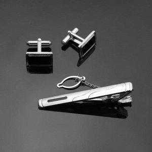 """Набор мужской """"Запонки + Зажим для галстука"""" прямоугольник с эмалью, цвет чёрно-серебристый"""