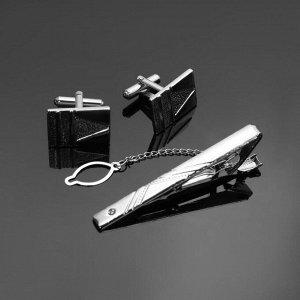 """Набор мужской """"Запонки + Зажим для галстука"""" резьба, цвет серебро"""