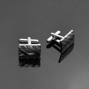 """Запонки стальные """"Прямоугольник"""" диагональ, цвет серебро"""