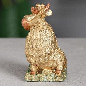 """Статуэтка """"Валютный бык"""", символ года 2021,золотистый, 9 см, полистоун"""