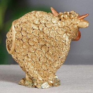 "Статуэтка ""Бык"", золотистый, символ года 2021,10 см, полистоун"