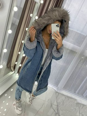 Джинсовая куртка длинная