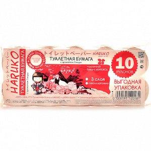 Бумага туалетная Haruko, аромат Сакуры, упаковка, 10 шт,130 гр.