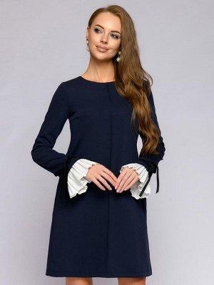 Платье синего цвета длины мини с длинными рукавами