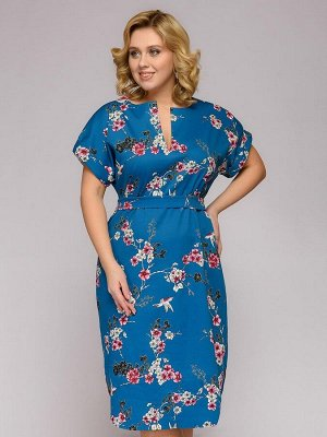 Платье-рубашка цвета морской волны с принтом и короткими рукавами