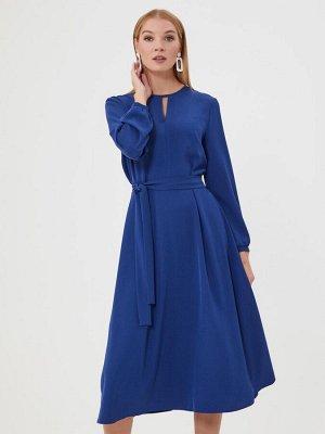 Платье синее длины миди с поясом