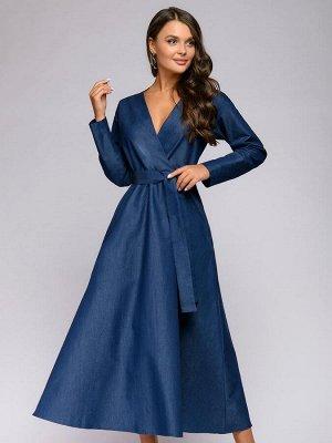 Платье синего цвета длины макси с имитацией запаха