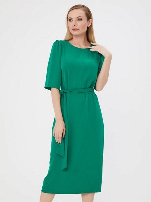 Платье зеленое длины миди с рукавами 1/2 и поясом