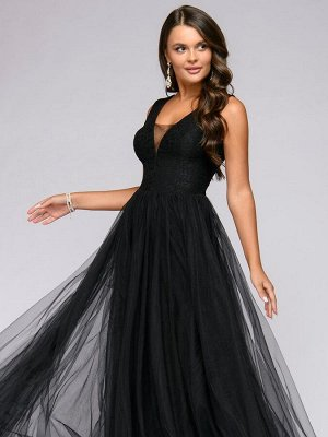 Платье черное длины макси с кружевной отделкой без рукавов