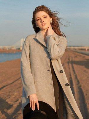 Пальто серое однобортное