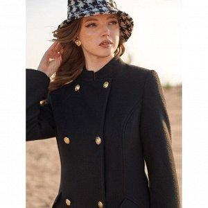Пальто черное в стиле милитари