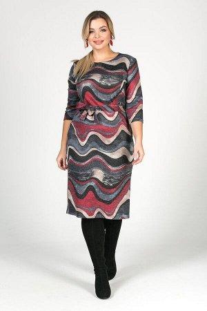 Платье Симона №54. Цвет:красный/волна