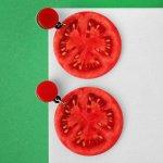 """Серьги пластик """"Вкусности"""" помидорки, цвет красный"""