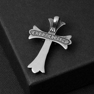 """Подвеска """"Крест"""" стальной, двойной, цвет чернёное серебро, L=4 см"""