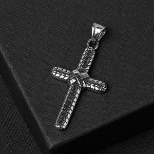 """Подвеска """"Крест"""" стальной, плетение, цвет чернёное серебро, L=5,7 см"""