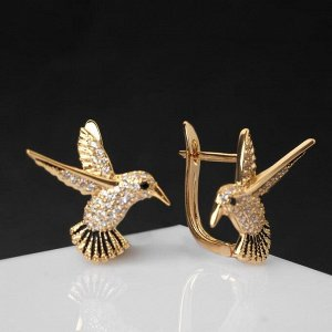 """Серьги со стразами """"Птички"""" колибри, цвет белый в золоте"""