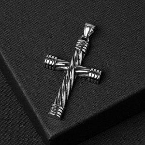 """Подвеска """"Крест"""" стальной, переплетение, цвет чернёное серебро, L=5,5 см"""