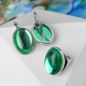 """Гарнитур посеребрение 2 предмета: серьги, кольцо """"Опал"""" симпл, цвет зелёный, 17,5 р-р"""