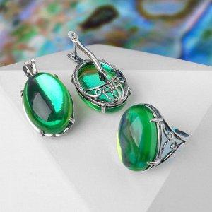 """Гарнитур посеребрение 2 предмета: серьги, кольцо ажур """"Опал"""", цвет зелёный, 18 р-р"""