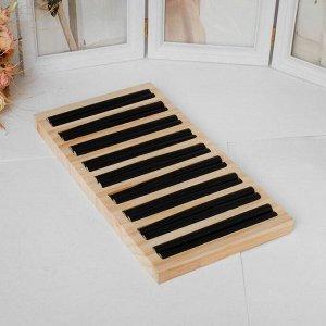 Подставка под кольца 9 полос,15*28,5*3 см, цвет чёрный
