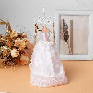 """Подставка для урашений """"Силуэт девушки в платье"""" свадьба, h=26,5, цвет белый"""